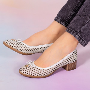 Pantofi piele naturala Bro albi