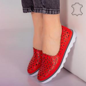 Pantofi piele naturala Bun rosii