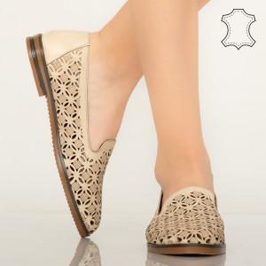 Pantofi piele naturala Bury bej
