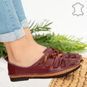 Pantofi piele naturala Cio bordo