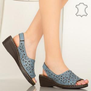 Pantofi piele naturala Crato albastri