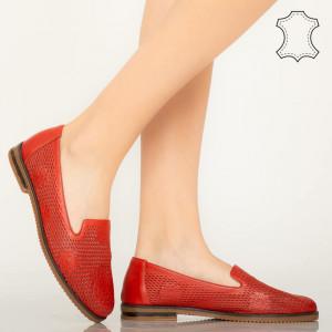 Pantofi piele naturala Guen rosii