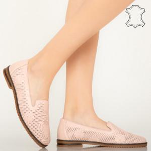 Pantofi piele naturala Guen roz