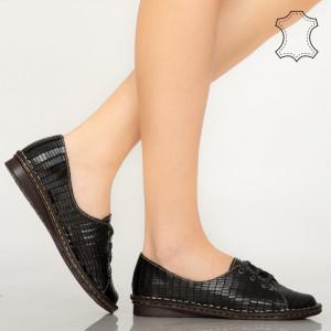 Pantofi piele naturala Irvi negri
