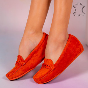 Pantofi piele naturala Melle portocalii