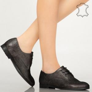 Pantofi piele naturala Pire negri