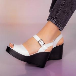 Sandale piele naturala Bit albe