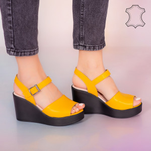 Sandale piele naturala Bit galbene