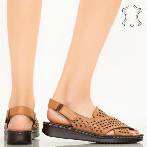 Sandale piele naturala Cox maro