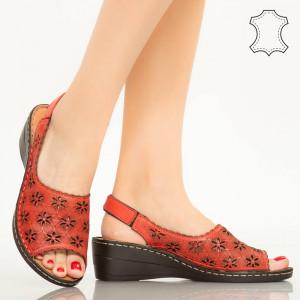 Természetes bőr cipő Zarea piros