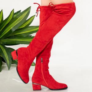 Червени кожени ботуши Exey