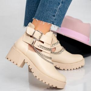 Beige women's ankle boots