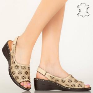 Bézs természetes bőr cipő Zarea bézs