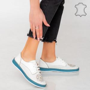 Pantofi piele naturala Alid albi