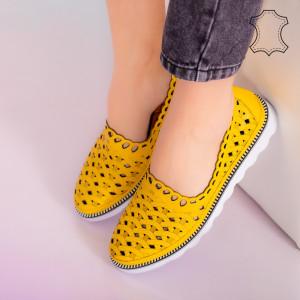 Pantofi piele naturala Bix galbeni