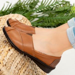 Pantofi piele naturala Epa camel