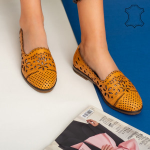 Pantofi piele naturala Fras camel