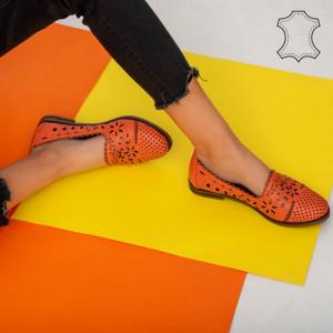Pantofi piele naturala Fras portocali