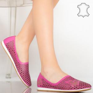 Pantofi piele naturala Kawa rosii