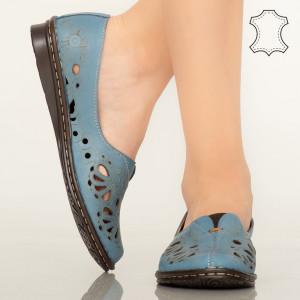 Pantofi piele naturala Lobo albastri