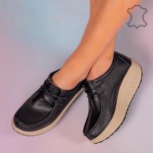 Pantofi piele naturala Maxo negri