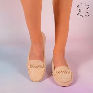 Pantofi piele naturala Melle bej