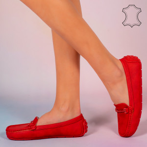 Pantofi piele naturala Muli rosii