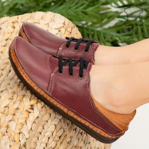 Pantofi piele naturala Oyo bordo