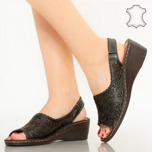 Pantofi piele naturala Zarea negri
