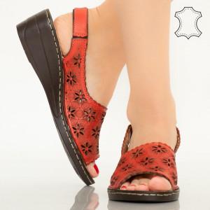 Pantofi piele naturala Zarea rosii