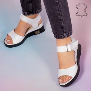 Sandale piele naturala Bog albe