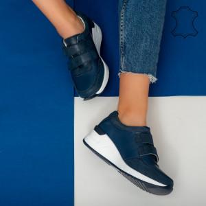 Tod kék természetes bőr platformok