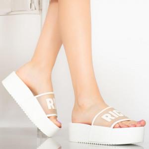 Наситени бели дамски чехли