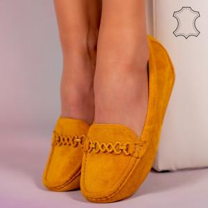 Melle sárga természetes bőr cipő