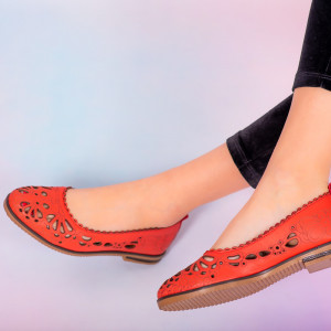 Pantofi piele naturala Betim rosii