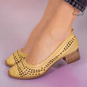 Pantofi piele naturala Bie galbeni