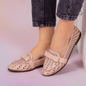 Pantofi piele naturala Bio roz
