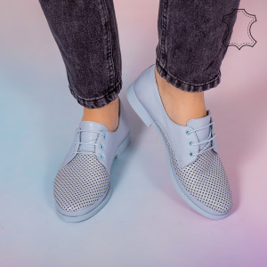 Pantofi piele naturala Boe albastri