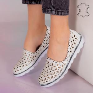 Pantofi piele naturala Bun albi
