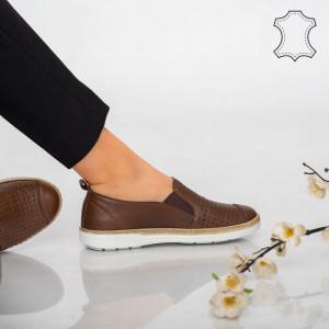 Pantofi piele naturala Erim maro