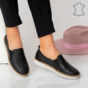 Pantofi piele naturala Erim negri