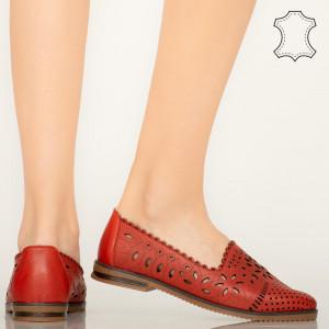 Pantofi piele naturala Fras rosii
