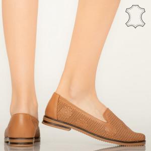 Pantofi piele naturala Guen maro