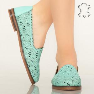 Pantofi piele naturala Hill turcoaz