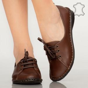 Pantofi piele naturala Irvi maro