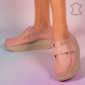 Pantofi piele naturala Metas roz