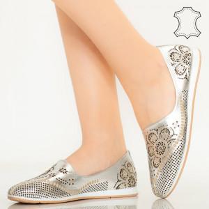 Pantofi piele naturala Mogi argintii