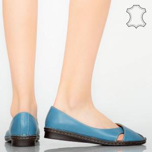 Pantofi piele naturala Nose albastii