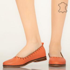 Pantofi piele naturala Olind portocalii