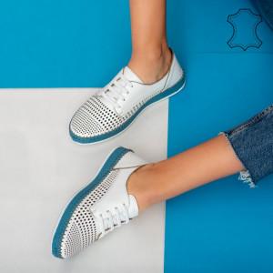 Pantofi piele naturala Sif albi